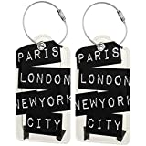 Etiquetas de equipaje de piel para equipaje de París Londres Nueva York, bolsa de viaje con funda de privacidad (2 unidades)