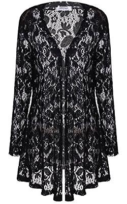 Mea Women's Long Sleeve Lace Crochet Knitted Sheer V Neck Open Front Cardigan