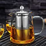Glass Teapot Stovetop Save - OBOR Tea Kettle with Removable Food Grade Stainless Steel Infuser & Lid...