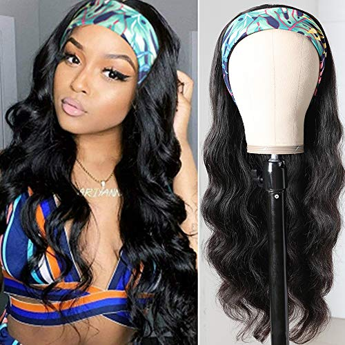 Muokass Headband Wigs Body Wave Human Hair Wigs for Black Women None Lace Front Wigs Machine Made Wig with Natural Black Headband Wig 150 Density (16 inch)