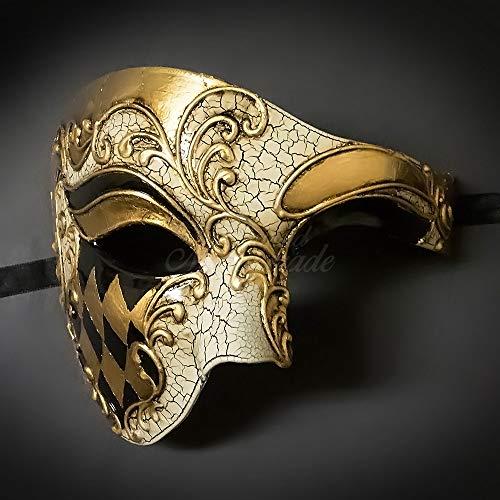 Blue & Gold Musical Men's Half Phantom Mask Mardi Gras Venetian Mask...