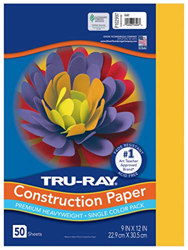 """PACON Heavyweight Construction Paper, Gold, 9"""" x 12"""", 50 Sheets (102997)"""