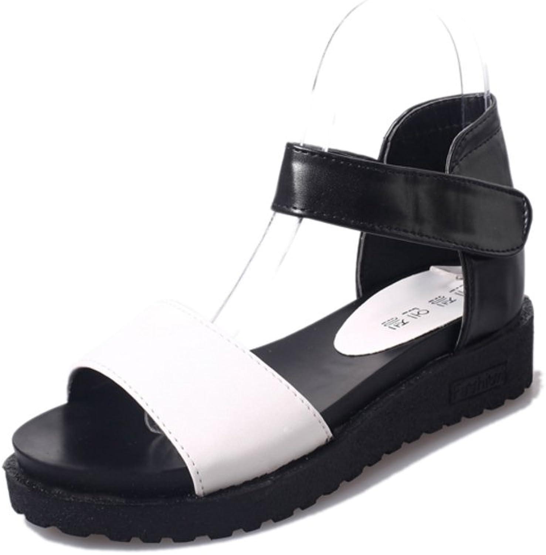 Huhuj Summer Platform peep-Toe shoes Flat Platform shoes