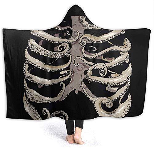 Octopus Art - Manta con Capucha de Esqueleto Humano para Mujer, Mantas Suaves para Llevar, Capa de Tiro, Manta de Sherpa de Micro Polar, Manta de Calentamiento, Novedad, Manta, 50 x 40 Pulgadas