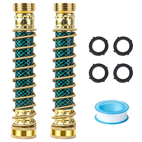 Snowpink 2021 Short Garden Hose Extension Adapter, 3/4'' GHT Flexible Hose Protector with Coil Spring, Water Hose Extension, Prevents Hose Kinks Connector, 2Pack, Eco-fridendly