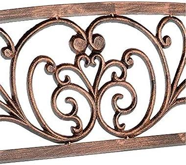 Blooming Patio Garden Bench Park Yard Outdoor Furniture, Iron Metal Frame, Elegant Bronze Finish, Sturdy Durable Construction