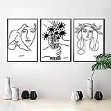 Kribee Cuadro de dibujo artístico de Picasso en lienzo con dibujo de mujer, ramo de la paz, póster minimalista para pared del hogar, 35 x 50 cm x 3