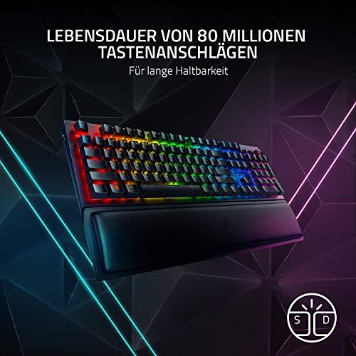 Razer BlackWidow V3 Pro (Green Switch) - Kabellose Gaming Tastatur mit mechanischen Schaltern (Taktil & klickend, Handballenauflage, Medientasten, RGB Chroma) QWERTZ   DE-Layout, Schwarz