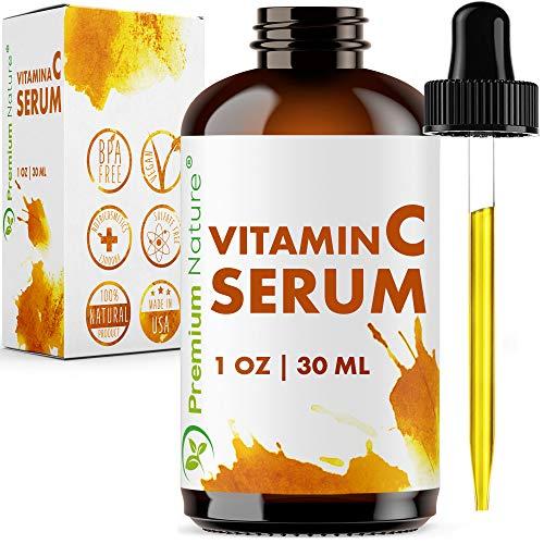 Vitamin C Serum Hochdosiert mit Hyaluron - Premium Nature Gesichtsserum mit Vitamin C & Hyaluronsäure Anti Aging Gegen Pigmentflecken Akne Falten & Poren Gesichtspflege Packung Variiert