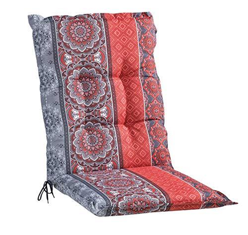 Sesselauflage Sitzpolster Gartenstuhlauflage für Mittellehner | 50 cm x 110 cm | Rot | Mandalamotiv | Baumwolle | Polyester