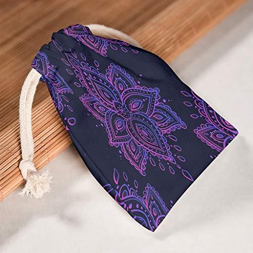 NC83 6 stuks lila mandala drawstring canvas trekkoord huwelijk lange levensduur product pouch pak voor Nieuwjaar verjaardag geschenken wrap bags - patroon print 20 * 25cm wit
