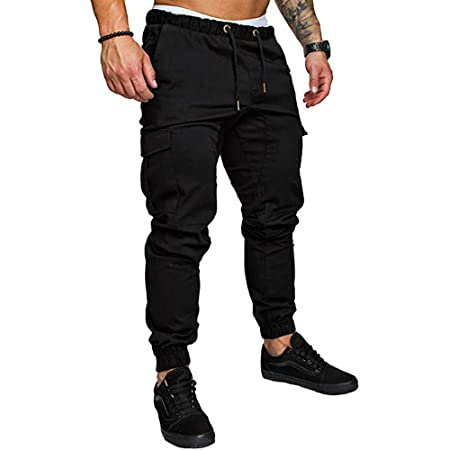 acelyn Men's Casual Trousers Multi-Pocket Slim Fit Sports Elasticated Waist Bodybuilding Workout Running Sweatpants