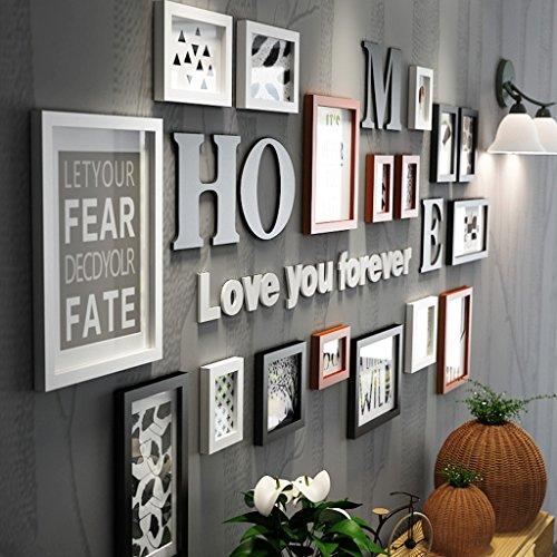 AJZGF,Mur de photo, mur de cadre photo, Cadre photo collage bois combinaison noir et blanc cadre classique salon créatif décoration murale ( Couleur : Multicolore )