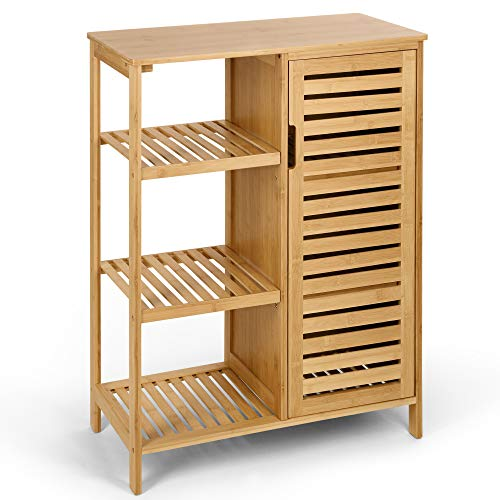 HYNAWIN Bamboo Bathroom Storage Cabinets 3 Tier Shelves with Door,Free Standing Storage Cabinet Furniture, Bamboo Floor Cabinet Multifunctional Use for Bathroom,Living Room, Bedroom, Kitchen