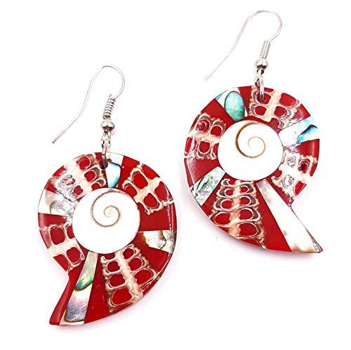 Pendientes de nácar con conchas artesanales étnicas, diseño de ojo de Santa Lucía, Shiva, conchas coral, color rojo