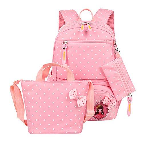 Fanci 3Pcs Polka Dot Princess Style Elementary Kids School Backpack Bookbag Set for Teens Girls School Bag with Handbag