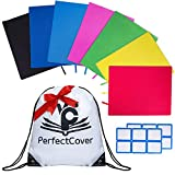 7 Pack Stretchable Book Covers - Multiple Colors Durable, Washable, Reusable and Protective Jackets for Hard Cover Schoolbooks and Textbooks - by PerfectCover