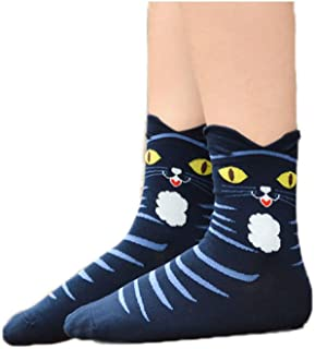 MoGist Mujer Calcetines Color nettes Caricatura Gatos Sonrisa algodón Transpirable Medio Tiempo Libre Calcetines de Deporte Largo Azul Oscuro