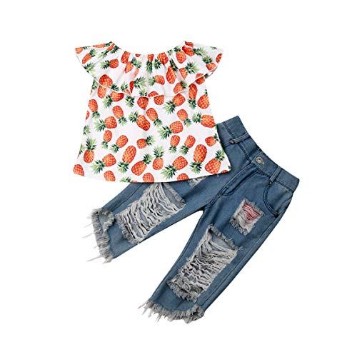 Toddler Ripped Jeans Girl 1-6T Summer Outfit Baby Off Shoulder Shirt Pineapple Printed + Denim Jeans Pants (3-4T, Pineapple)