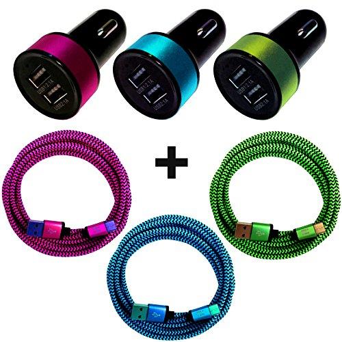 [i!®], 20 cm, 50 cm, 1 m, 2 m, 3 m, premium USB-C 3.1 laadkabel, datakabel, voeding, 5 V/1 A, lader, netstekker, kleurrijk, 1 Maand, 3-delige set + auto-adapter.