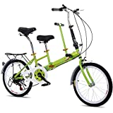 20 'Vélo Tandem Pliant Vélo De Famille 2 Seater 7 Vitesse Stable Cadre Solide Vert