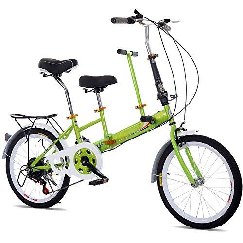 """SHIOUCY 20\"""" Klapprad Tandem Fahrrad Erwachsene Kinder Travel Bicycle Camp Fahrrad 2 Sitze zusammenklappbar Kinderfahrräder (Grün)"""