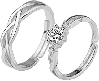 ❤1 Pair of Zircon Couple Rings Set 30% Sterling Silver For Women Men Lovers Wedding Promise Rings Fashion Jewelry Non-fading❤
