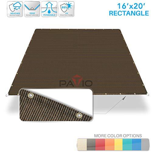 Patio Paradise 16' x 20' Straight Edge Sun Shade Sail, Brown Rectangle Outdoor Shade Cloth Pergola Cover UV Block Fabric - Custom 3 Year Warrenty