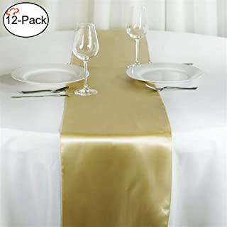 Tiger Chef 12-Pack Champagne (Deep Yellow) 12 x 108 inches Long Satin Table Runner for Wedding, Table Runners fit Rectange and Round Table Decorations for Birthday Parties, Banquets, Graduations