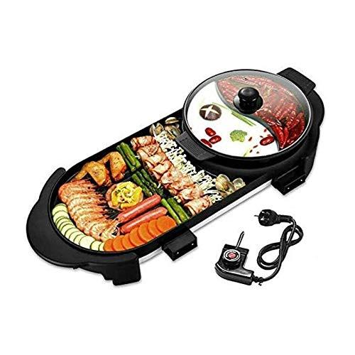 Indoor Grill 2 in 1 elektrischer Grill-Hottopf, multifunktionaler Teppanyaki-Grill/Shabu-Topf mit Trennzeichen separater Doppeltemperatur-Kontral, Non-Stick-Pfanne for 1-8 Personen-Versammlungen (24