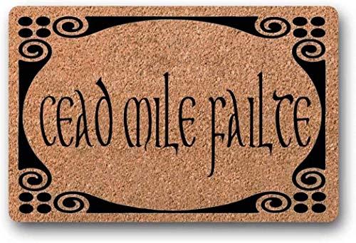 LHM Cead Mile Failte, felpudo irlandés, día de San Patricio, celta, gaélico, felpudo personalizado, trébol, bendición irlandesa, otoño 40x60 CM