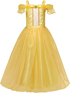 Beauty and the Beast Belle Same Style Children's Costume Dress - Elegant Yellow Pincess Dress for Girls - Performance Dress