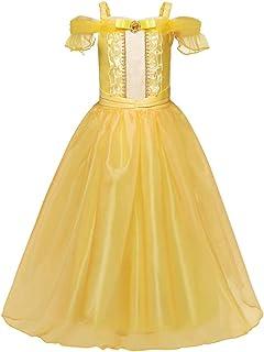 """فستان تنكري للاطفال بنفس تصميم فستان """"بيل"""" بطلة قصة """"الجميلة والوحش""""، فستان الاميرات الانيق بلون اصفر للفتيات - فستان للعر..."""