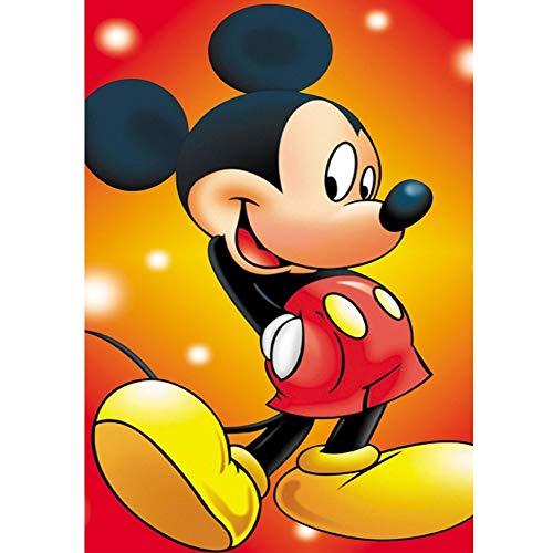 DIY 5D Diamante Pintura Kits, Kit de Pintura de Diamantes 5D Mickey Mouse de dibujos animados Diamond Painting Completo Bordado Punto de Cruz Craft para Home Decoración -Round Drill,50x70cm E8384