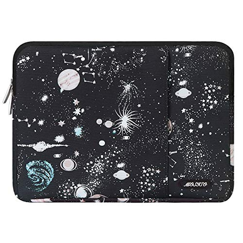 MOSISO Laptop Sleeve Bag Compatible with 13-13.3 inch MacBook Pro, MacBook Air, Notebook Computer, Vertical Style Water Repellent Polyester Protective Case Cover with Pocket, Universe Black Base
