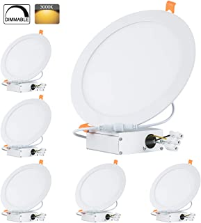 TONNLED 18W 8 Inch Dimmable Ultra-Thin Recessed Ceiling Light with J-Box, 3000K Warm White, 1350lm, LED Flat Panel Light, Wafer Downlight, ETL, Home or Commercial Lighting, Pack of 6