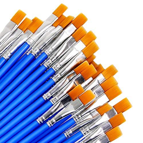 Augshy 60 Stück 9 mm breite Flache Pinsel, Kleine Künstlerpinsel Pinsel Set für Details und Kunstmalerei
