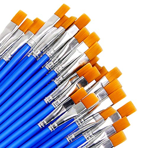 Augshy 60 Stück Breite Flache Pinsel, Kleine Künstlerpinsel Pinsel Set für Details und Kunstmalerei (9mm)