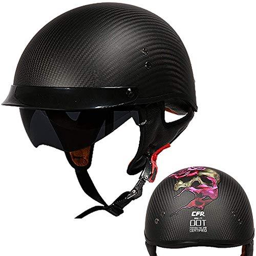 ZHXH Motorrad Harley Helm, Ultraleichter Faserkomfort Unisex Cruiser Scooter Persönlichkeit Saison Helm Eingebaute Schutzbrille (m, L, Xl, Xxl)