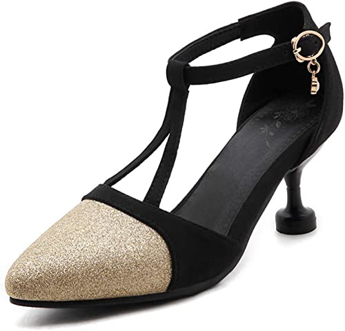 LIANGXIE Femmes de Pointe Orteil Bas 70mm Mid Heel T Sangle Haute Talons Cheville Sangle Sandales soirée Mary Jane Style Chaussures pour Shining Robe de soirée Chaussures