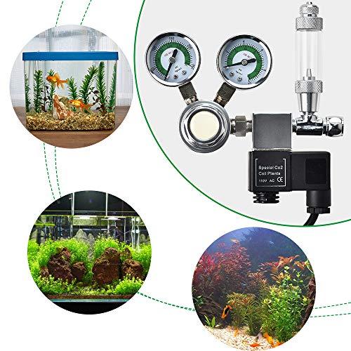 KKTECT Acquario Regolatore CO2 Interfaccia Display a Doppio indicatore W21.8, con contabollicine, valvola di ritegno, elettrovalvola per Piante acquatiche Regola Il Livello di CO2