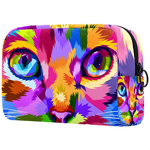 Waterproof Toiletry Bag for Girls with Zipper 18.5x7.5x13cm Cat Face Close to Colorful Eyes Travel Storage Case Portable Toiletry Pouch Travel Makeup Case Pouch for Women Girls