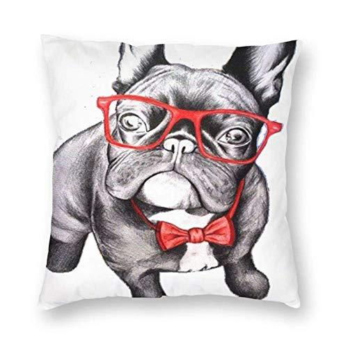 erjing Fundas de Almohada Bulldog con Gafas Moda Funda de cojín de algodón Suave Fundas de Almohada Throw Pillow Decor Funda de Almohada Decoración para el hogar 18X18 Pulgadas