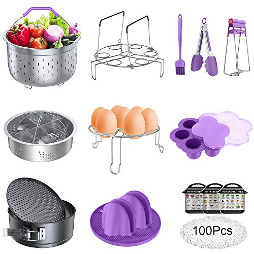 Accessories for Instant Pot, Pressure Cooker 17 Pieces Kit Compatible with 5/6/8Qt Steamer Baskets Springform Pan Egg Rack Oven Mitts Brush Tongs Silicone Mold Dish Plate Clip Mat Magnetic Cheat Sheet