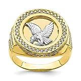 Anillo de oro de 10 quilates con circonita cúbica y águila de micropavé para hombre, de grado superior al oro de 9 quilates