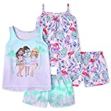 The Children's Place Girls Palm Tree 4-Piece Pajamas, Pink Admirer, L (10/12)