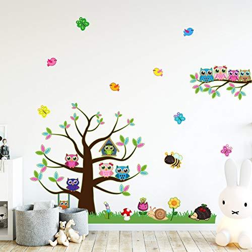 Stickers adhésifs Enfants | Sticker Autocollant arbre et hiboux - Décoration murale chambre enfants | 120 x 60 cm