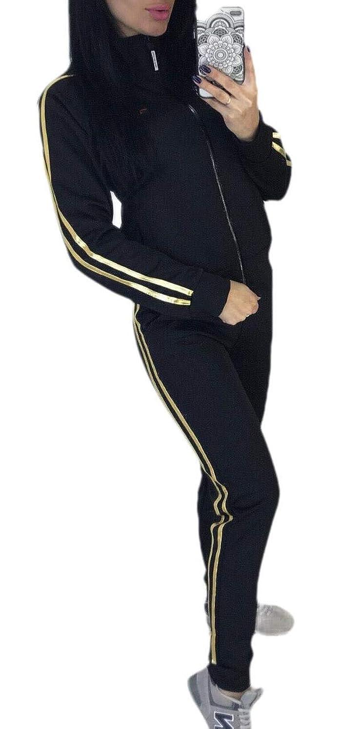 折ポーズ惨めなWomen Zipper Up Outdoor Running Skinny Jogger Activewear Set