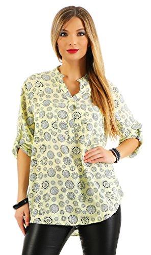 Zarmexx Fijn viscose blouse hemdblouse lange mouwen - Fischerhemd Regular Fit licht lange mouwen zomerblouse tuniek mandala-patroon