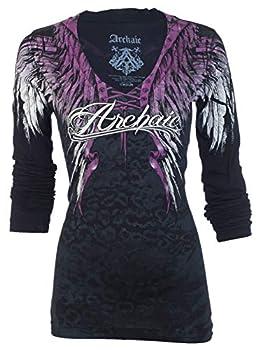 Affliction Archaic Womens LS T-Shirt Simple Spirit Wings Tattoo Biker  X-Large  Black